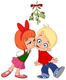 Kids kissing under mistletoe