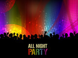 All night party poster or banner