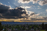 Afternoon Sun Rays over Portland Oregon Skyline