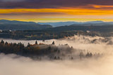 Foggy Sandy River Valley during Sunrise
