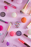 Make up products and macaroons