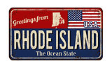 Greetings from Rhode Island vintage rusty metal sign