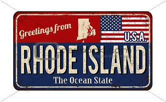 Greetings from Rhode Island vintage rusty metal sign