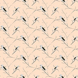 Birds on branches light pink cute pattern seamless vector.