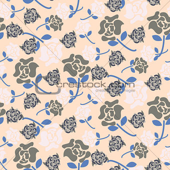 Pale rose pink and grey floral pattern seamless vector.