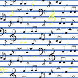 Music notes seamless vector stripe pattern.