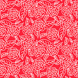 Red line roses floral pattern seamless vector.