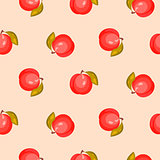 Bright ripe peach fruit seamless vector pattern.
