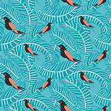 Birds on branches with dense leaves blue pattern seamless vector.