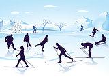 Winter sports Ice skating, Skiing,