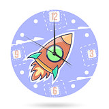 Kids illustration dial plate. Clock face with a rocket isolated on white background.
