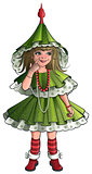 Girl New Year costume green Christmas tree