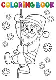 Coloring book climbing Santa Claus