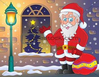 Santa Claus on sidewalk theme 3