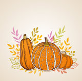 Autumn background with orange pumpkins