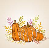 Autumn background with orange pumpkins