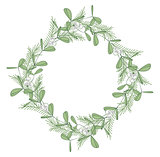 Christmas wreath with branches and mistletoe