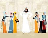 Arab man and women