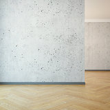 empty room with clear wall, 3d rendering