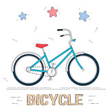 Bike in cartoon style. Trendy style for graphic design, Web site, social media, user interface, mobile app.