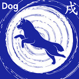 Chinese Zodiac Sign Dog over whirl blue pattern