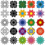 Set of black and colorful stylized flowers