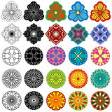 Collection of black and color stylized flowers