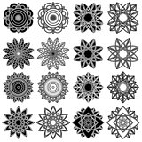 Set of twenty five black stylized flowers