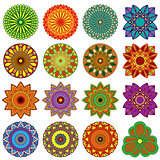 Set of twenty five lace color flowers