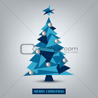 Christmas card with abstract blue triangle tree template