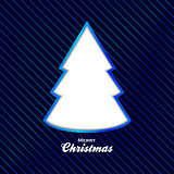 Christmas blue background with cut out tree