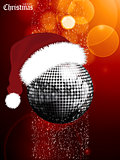 Christmas festive glowing background with disco ball and Santa h