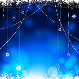 Christmas glowing blue background with hanging stars