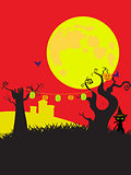 Halloween cortoons style black yellow and red background