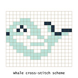 Cross-stitch pixel art butterfly whale animal vector set.
