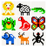 Pixel art animals vector set.