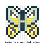 Cross-stitch pixel art butterfly vector set.
