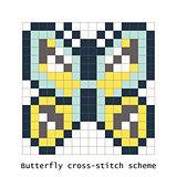 Cross-stitch pixel art butterfly vector set.