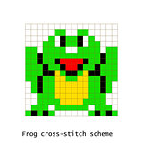 Cross-stitch pixel art frog animals vector set.