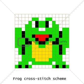 Cross-stitch pixel art frog animals vector set.