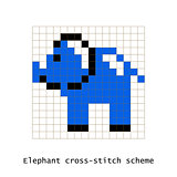 Cross-stitch pixel art elephant vector set.