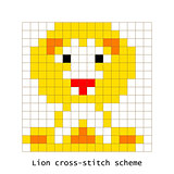 Cross-stitch pixel art lion animal vector set.