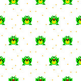 Green frog cartoon pixel art seamless pattern.