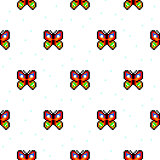 Bright butterfly cartoon pixel art seamless pattern.