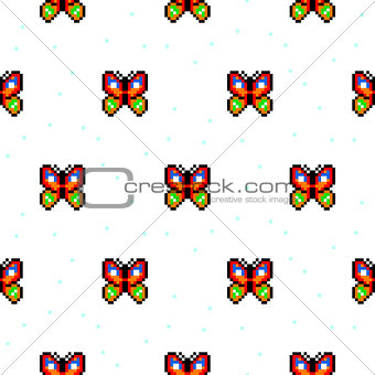 Bright butterfly cartoon pixel art seamless pattern.