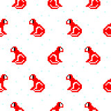 Red monkey cartoon pixel art seamless pattern.