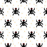 Black spider cartoon pixel art seamless pattern.