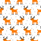 Cute deer cartoon pixel art seamless pattern.