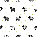 Sheep black and white cartoon pixel art seamless pattern.