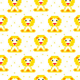 Yellow lion cartoon pixel art seamless pattern.
